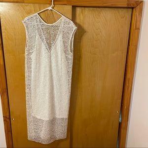Ginger & Smart White Sleeveless Coated lace dress